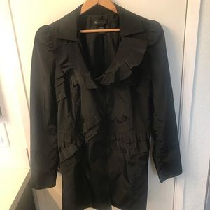 Black Ruffle Rain Coat